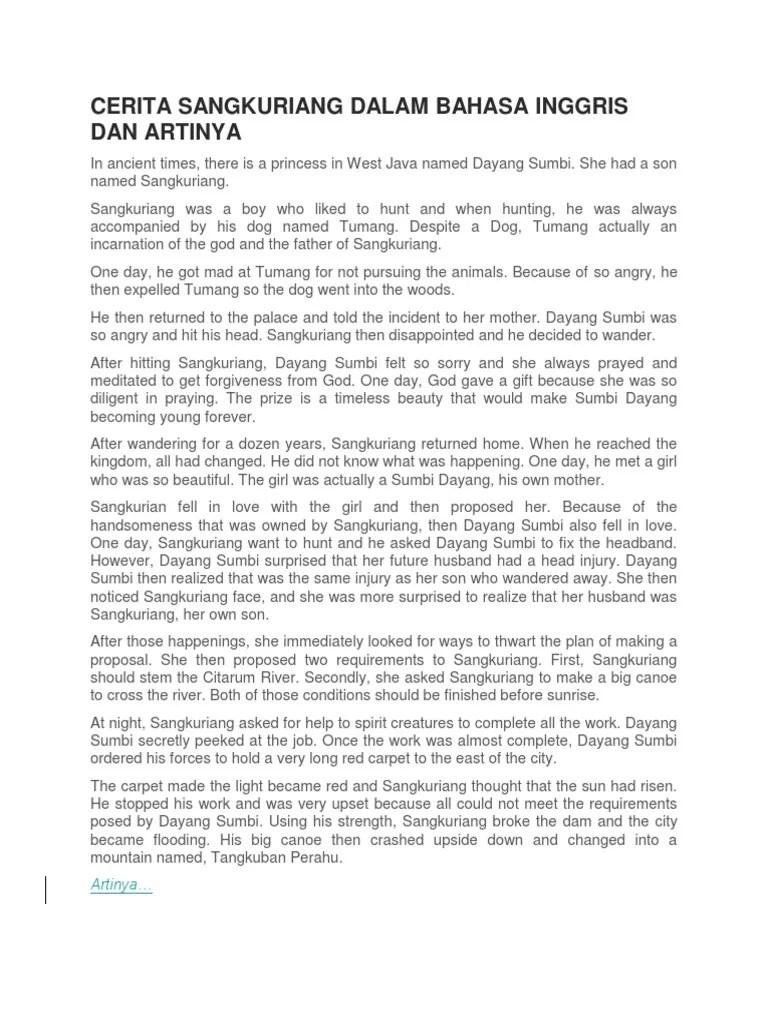 Cerita Sangkuriang Dalam Bahasa Inggris : cerita, sangkuriang, dalam, bahasa, inggris, Sangkuriang, Dalam, Bahasa, Inggris, Artinya, Berbagai, Penting