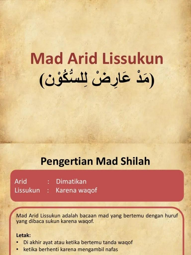 Mad Arid Lissukun : lissukun, Tajwid, Lissukun