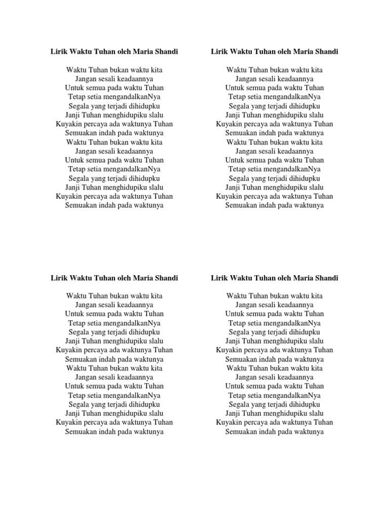 Song Lyrics - Lirik Lagu Waktu Tuhan - Maria Shandi