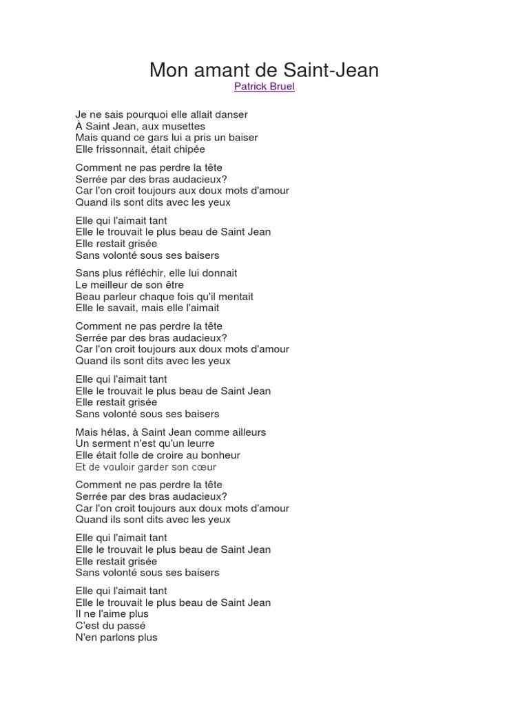 Patrick Bruel Mon Amant De Saint-jean : patrick, bruel, amant, saint-jean, Amant, Saint-Jean, Patrick, Bruel.docx