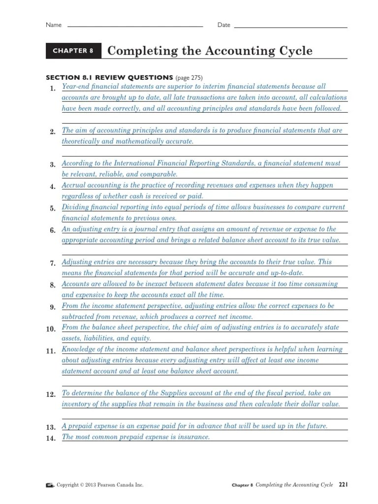 small resolution of Section 8.1 Review Questions (Page 275)   Debits And Credits   Expense