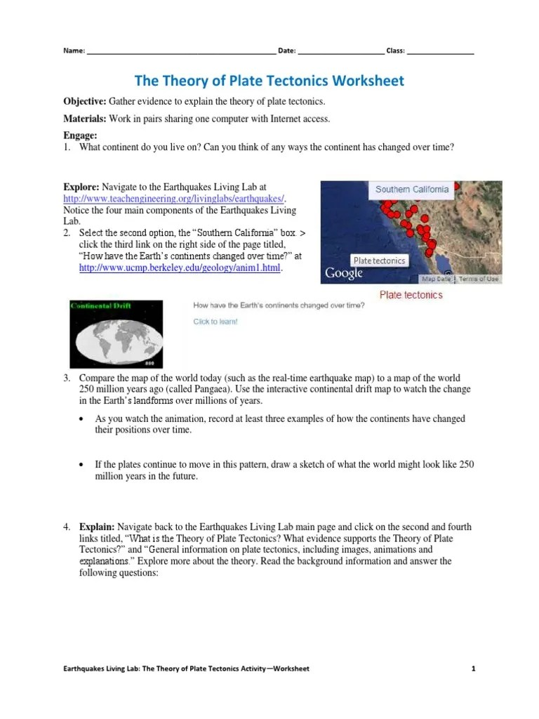 The Theory of Plate Tectonics Worksheet   Plate Tectonics   Earth Sciences [ 1024 x 768 Pixel ]