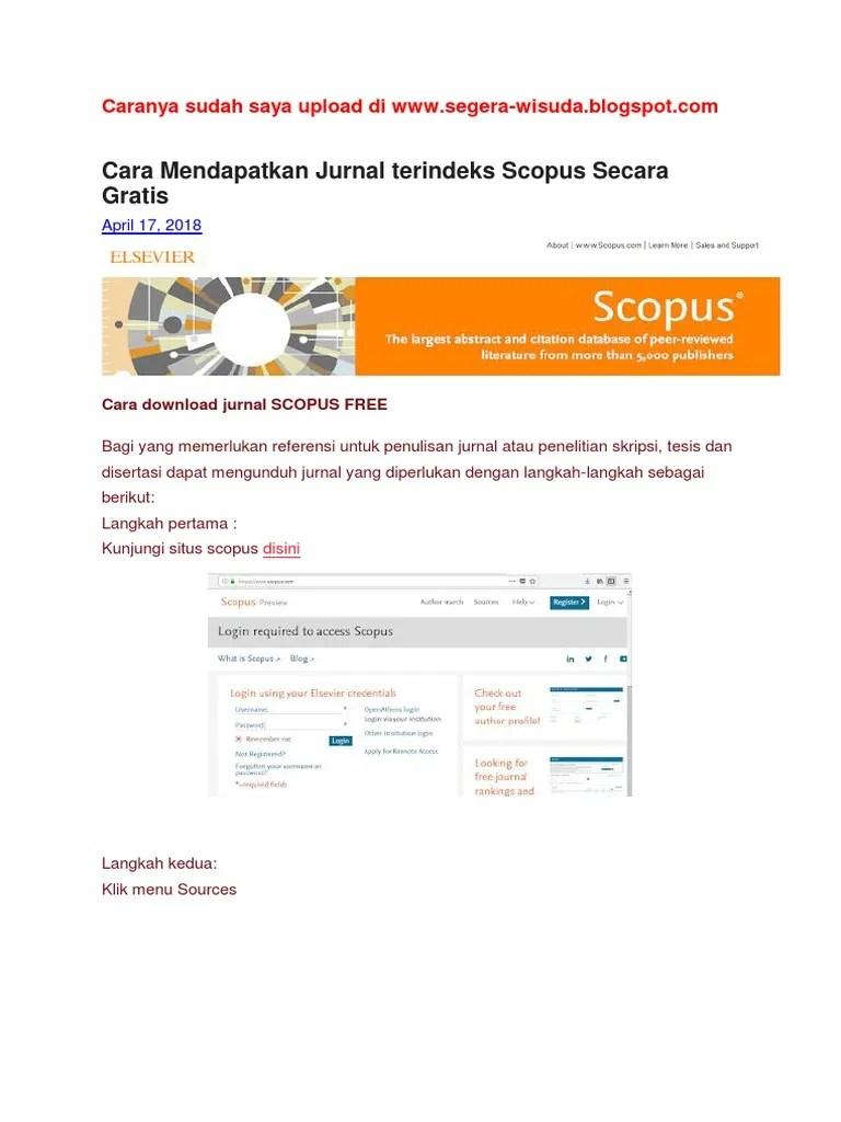 Cara Mendapatkan Id Scopus : mendapatkan, scopus, Mendapatkan, Jurnal, Terindeks, Scopus, Secara, Gratis:, April