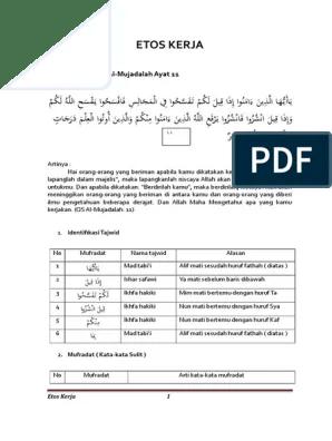 Al Mujadalah Ayat 11 Artinya : mujadalah, artinya, Kerja