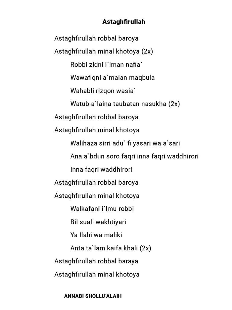Lirik Sholawat Astagfirullah : lirik, sholawat, astagfirullah, Astaghfirullah, Robbal, Baroya, Minal, Khotoya, Belajar