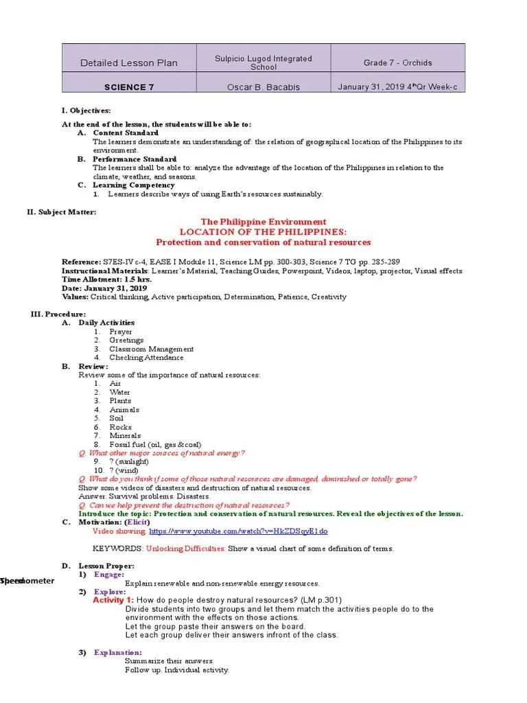 DLP Science 7 4th Qr Wk3   Conservation (Ethic)   Lesson Plan [ 1024 x 768 Pixel ]
