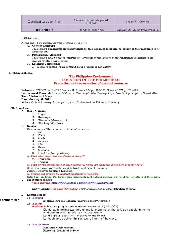 small resolution of DLP Science 7 4th Qr Wk3   Conservation (Ethic)   Lesson Plan