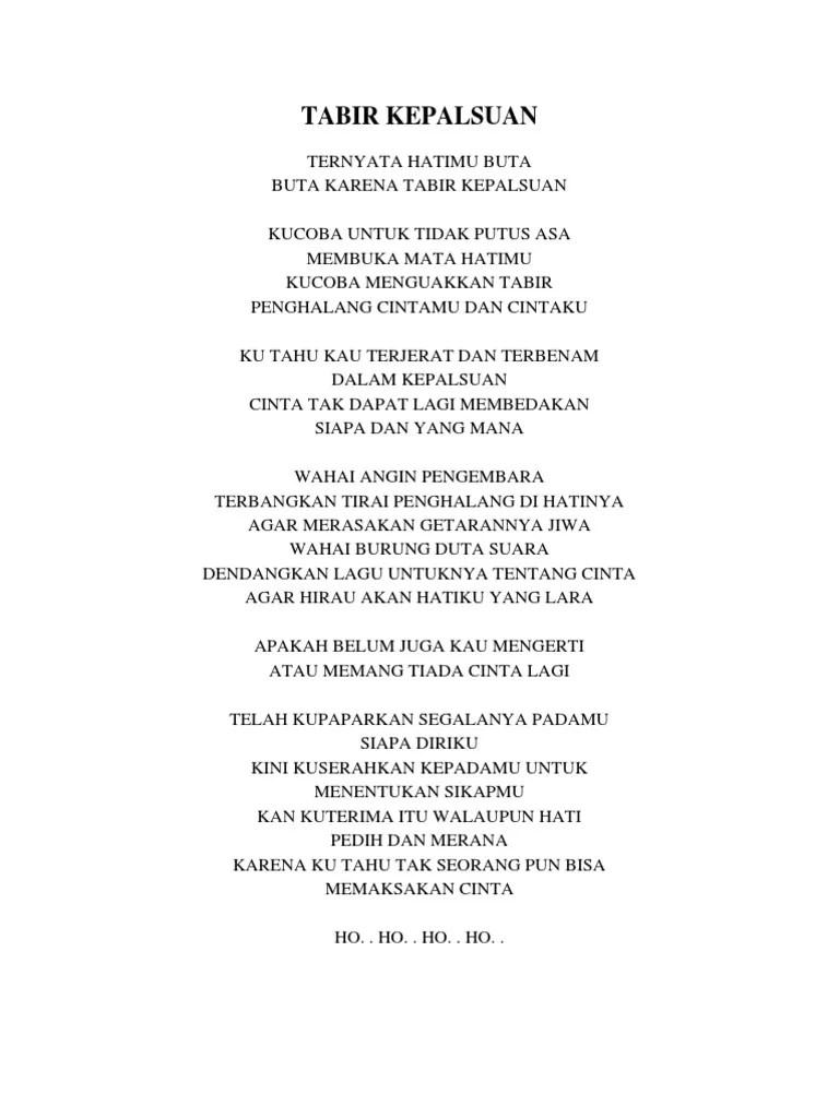 Teks Lagu Tabir Kepalsuan : tabir, kepalsuan, IRAMA, Tabir, Kepalsuan