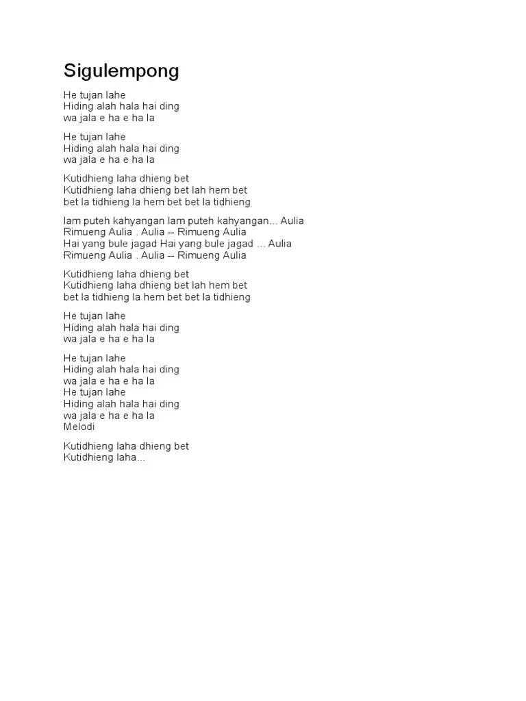 Lirik Lagu Sigulempong : lirik, sigulempong, Lirik, Sigulempong