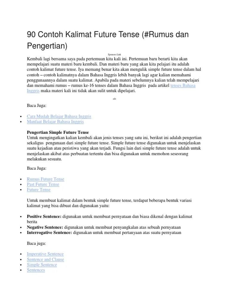 Contoh Kalimat Simple Future Tense : contoh, kalimat, simple, future, tense, Aaaaaaa90, Contoh, Kalimat, Future, Tense.docx, Bahasa, Indonesia, Hubungan, Sintaksis