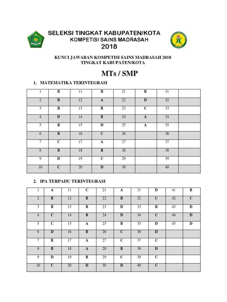Soal Ksm 2018 Tingkat Provinsi : tingkat, provinsi, Jawaban