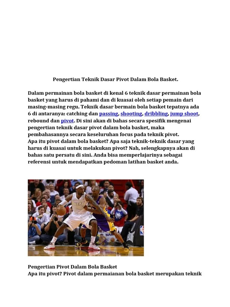 Pengertian Pivot Dalam Bola Basket : pengertian, pivot, dalam, basket, Pengertian, Teknik, Dasar, Pivot, Dalam, Basket