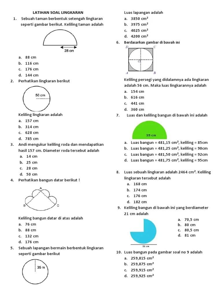 Contoh Soal Luas Lingkaran Dan Jawabannya Kelas 6 : contoh, lingkaran, jawabannya, kelas, Lingkaran, 6.docx
