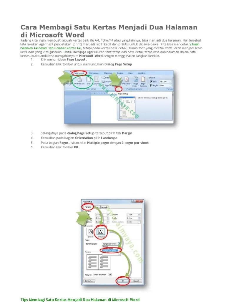 Cara Membagi Dua Halaman Word : membagi, halaman, KERTAS, HALAMAN.docx