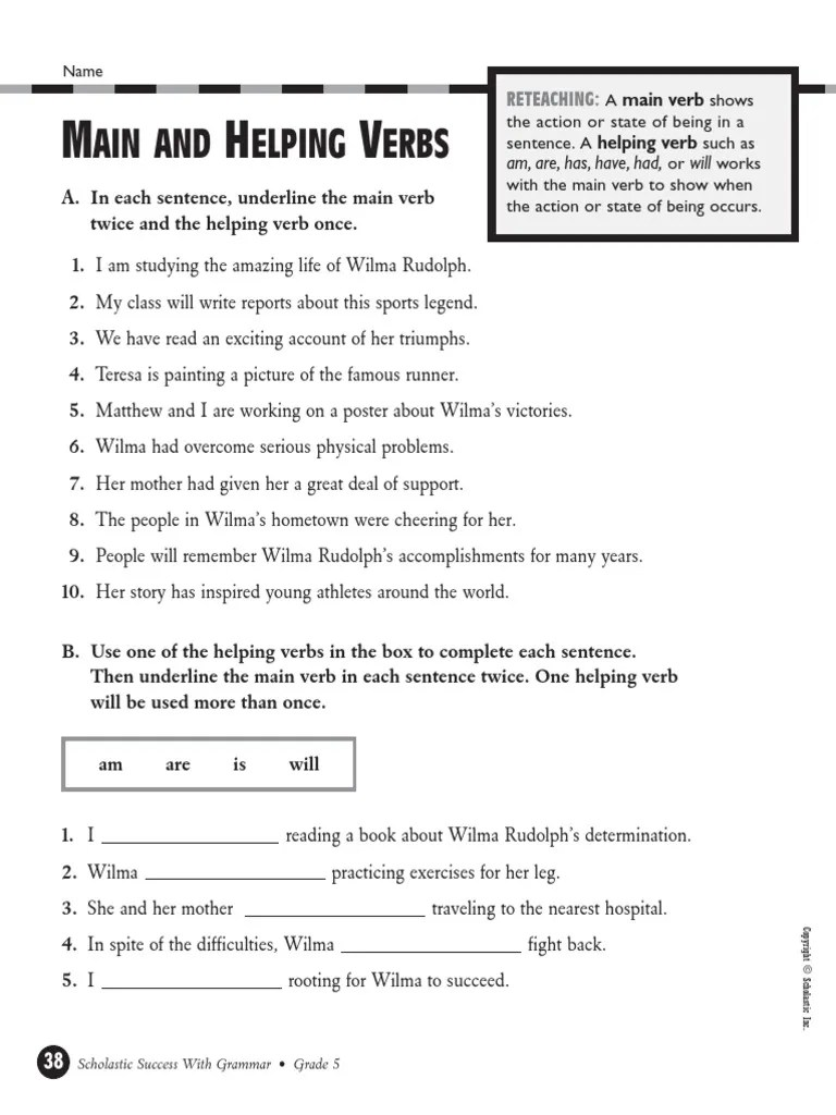 small resolution of Helping-Verbs-Verb-Phrases-Worksheet.pdf   Sports