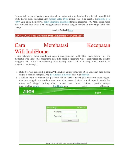 Cara Membatasi Kecepatan Wifi Indihome : membatasi, kecepatan, indihome, Membatasi, Kecepatan, Pengguna, Indihome