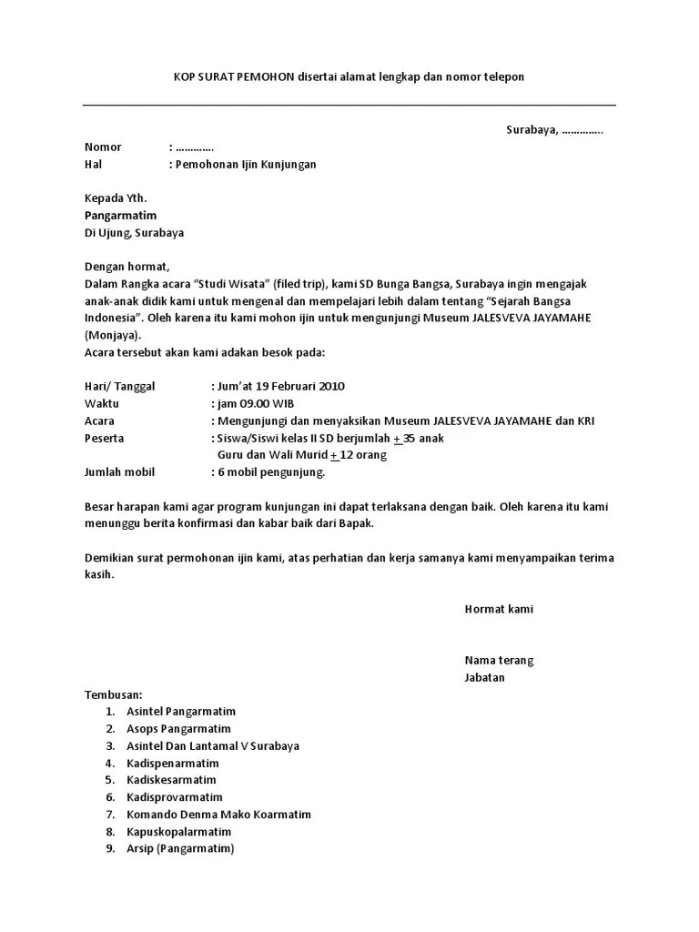 Contoh Surat Kunjungan Kerja Perusahaan : contoh, surat, kunjungan, kerja, perusahaan, Contoh, Surat, Permohonan, Perusahaan