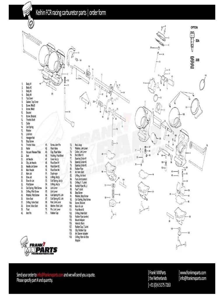 Keihin Fcr Racing Carburetor Parts Order Form Frank