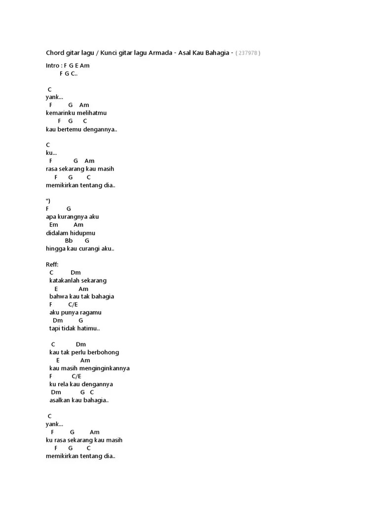 Chord I Will Armada : chord, armada, Lirik, Armada, Bahagia, Chord, Gitar
