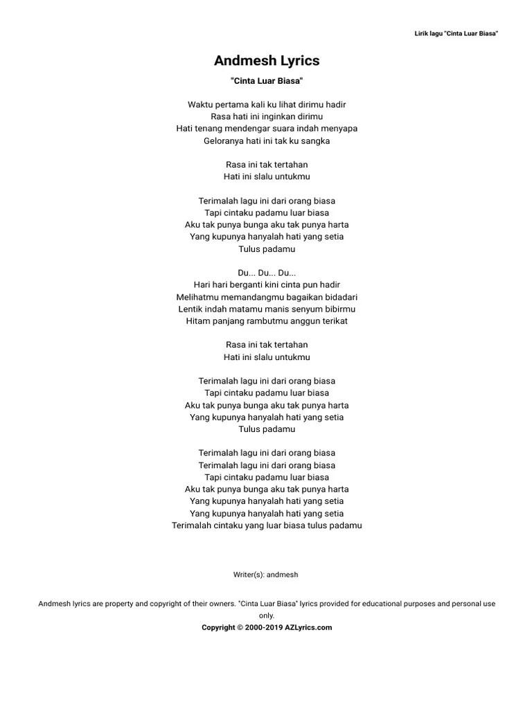 Aku Tak Punya Bunga : punya, bunga, Andmesh, Cinta, Biasa, Lyrics, AZLyrics.com