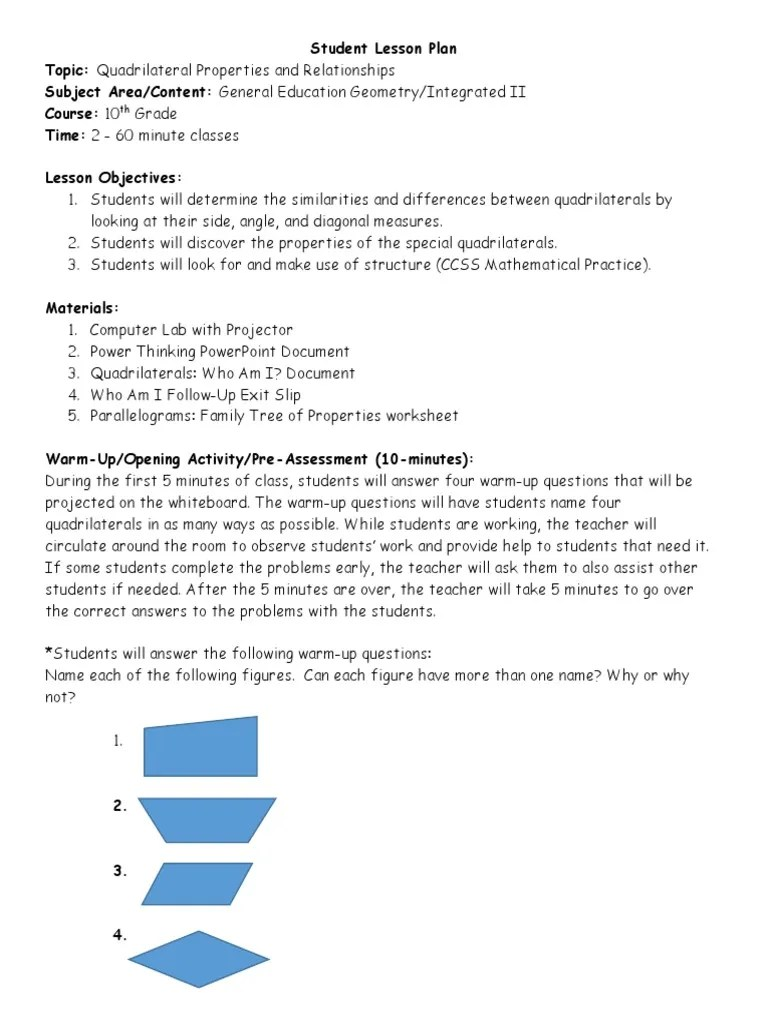 small resolution of quadrilaterals lesson plan   Rectangle   Euclidean Plane Geometry