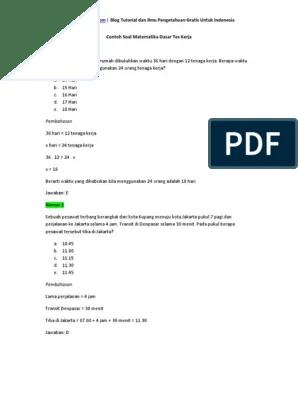 Contoh soal tes matematika melamar kerja deret angka dan logika. Contoh Soal Matematika Dasar Tes Kerja Pdf