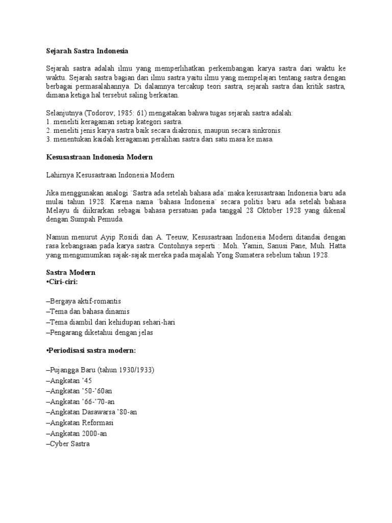 Sejarah Sastra Angkatan 45 : sejarah, sastra, angkatan, Sejarah, Sastra, Indonesia