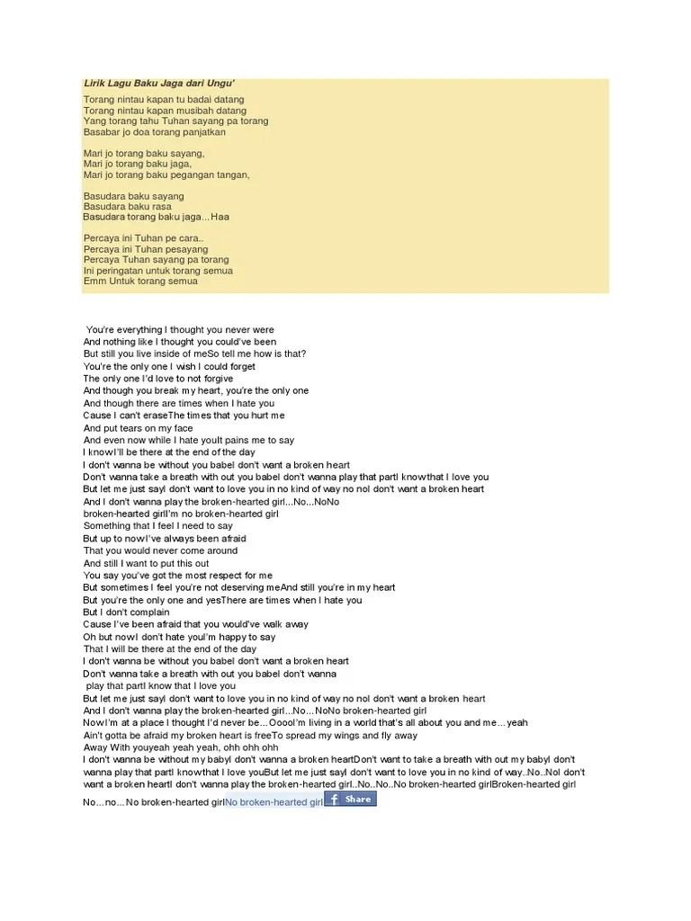 Lirik Lagu Baku Jaga : lirik, Lirik, JAGA.docx