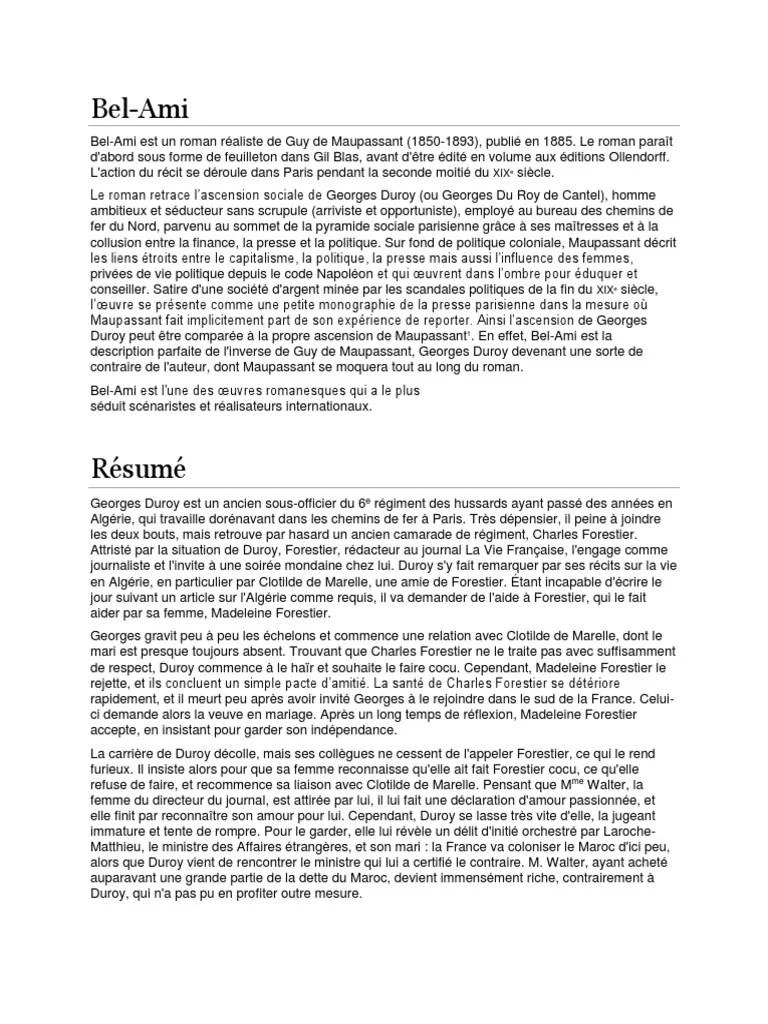 Bel Ami Maupassant Résumé Court : maupassant, résumé, court, (1).docx, Romans