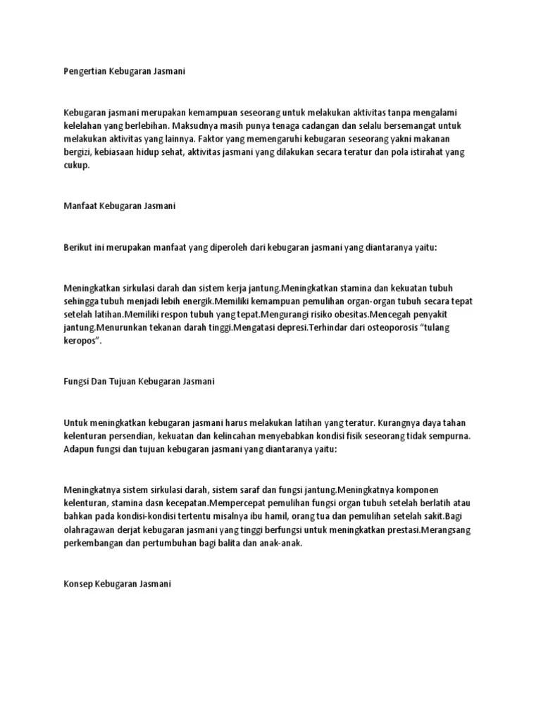 Tujuan Kebugaran Jasmani : tujuan, kebugaran, jasmani, Ringkasan, Kebugaran, Jasmani.docx