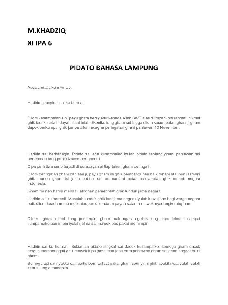 Pidato Bahasa Lampung : pidato, bahasa, lampung, Pidato, Bahasa, Lampung