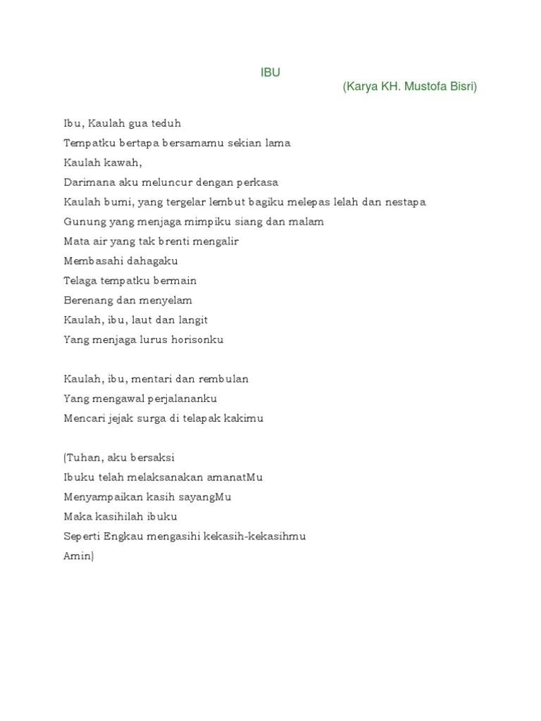 Teks Puisi Ibu Karya Mustofa Bisri : puisi, karya, mustofa, bisri, Puisi, Ciptaan, Mustofa, Bisri, Koleksi