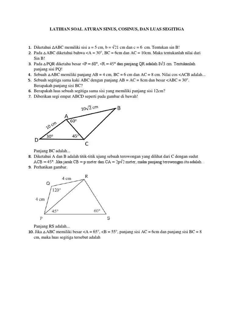 Aturan Sinus Cosinus Dan Luas Segitiga : aturan, sinus, cosinus, segitiga, Latihan, Aturan, Sinus,, Cosinus,, Segitiga