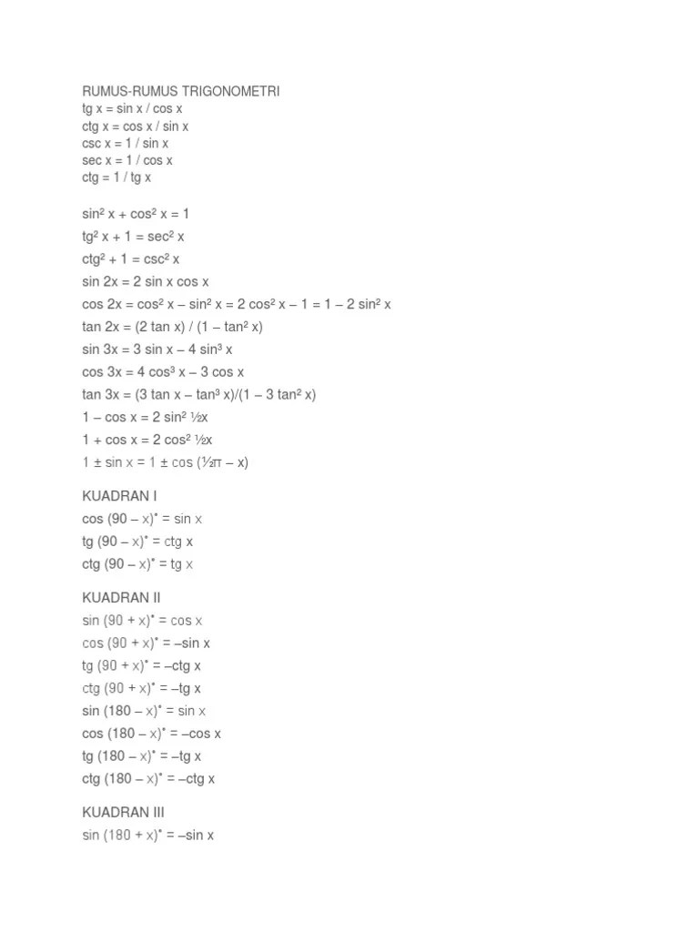 Rumus Cos 2x : rumus, Trigonometri.docx