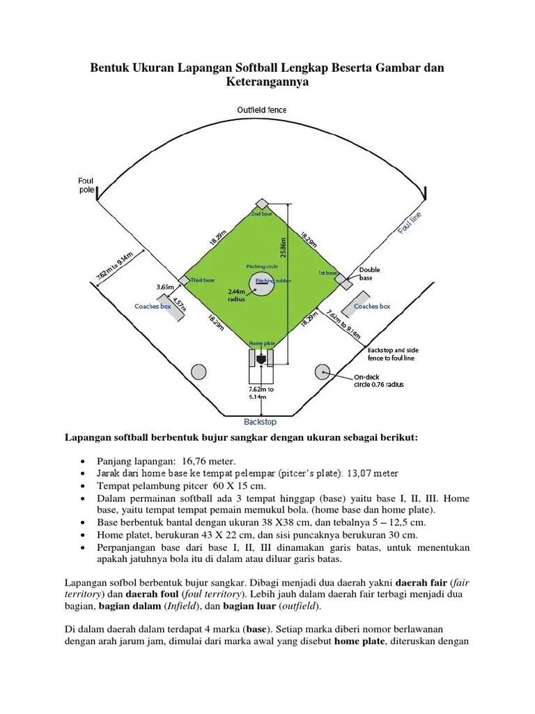 Lapangan Softball Dan Keterangannya : lapangan, softball, keterangannya, Gambar, Ukuran, Lapangan, Softball, Kumpulan, Materi, Pelajaran, Contoh