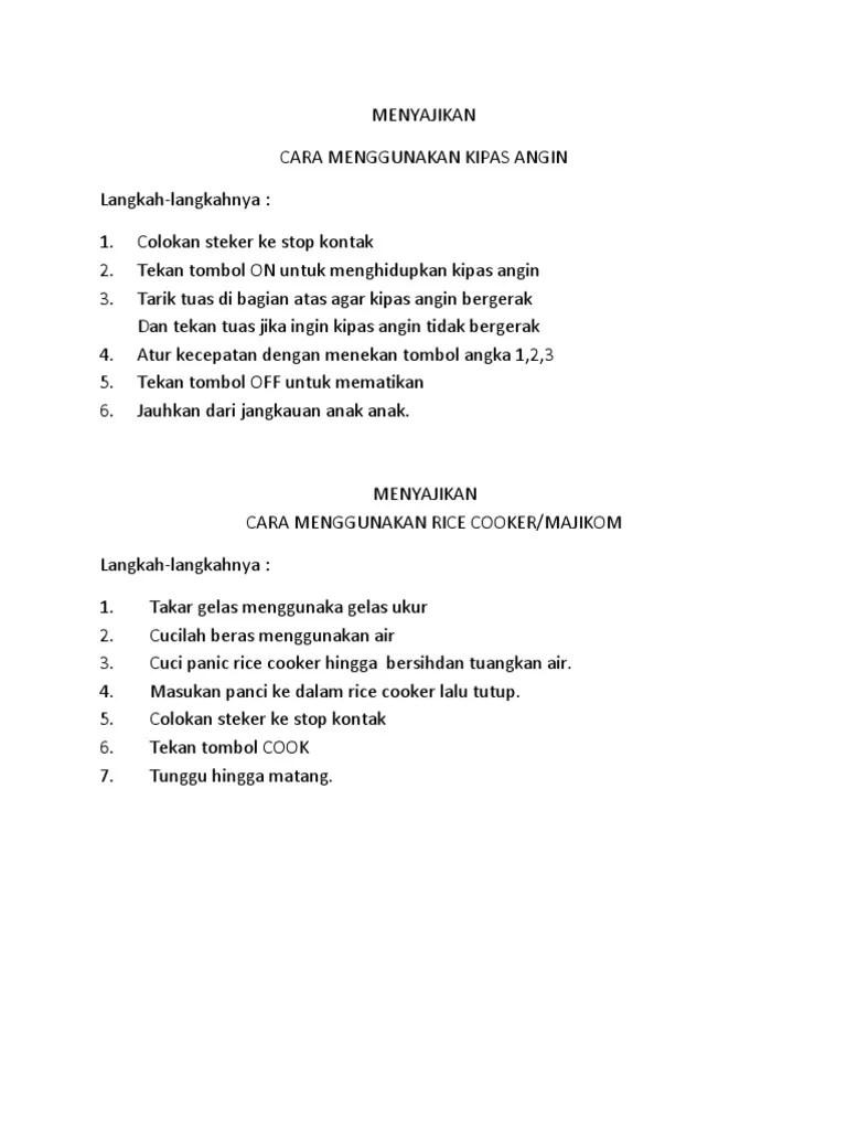 Petunjuk Penggunaan Kipas Angin : petunjuk, penggunaan, kipas, angin, MENYAJIKAN, MENGGUNAKAN, KIPAS, ANGIN.docx