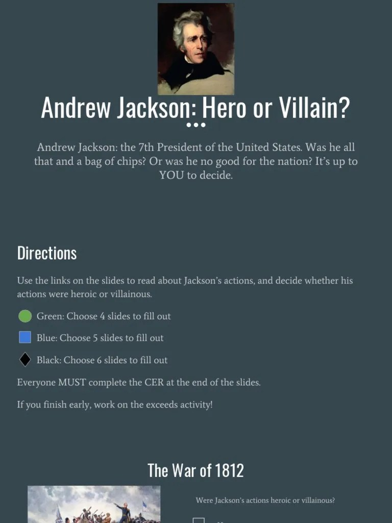 medium resolution of andrew jackson hero or villain   Native Americans In The United States   Andrew  Jackson