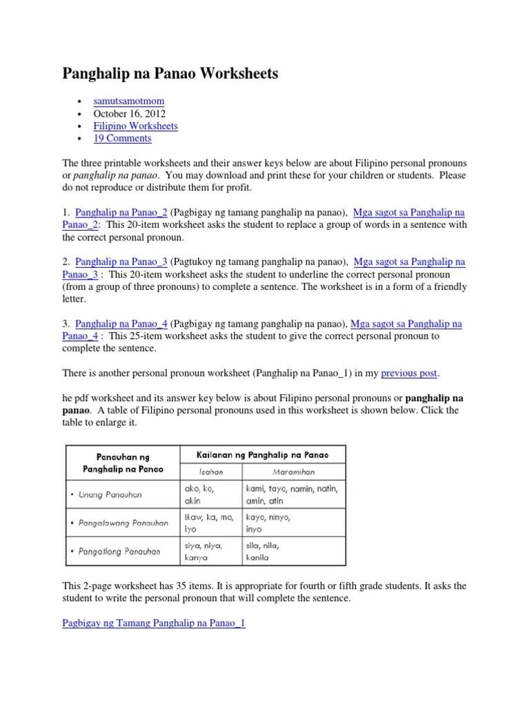 medium resolution of Panghalip Na Panao Worksheets   Languages   Language Arts \u0026 Discipline