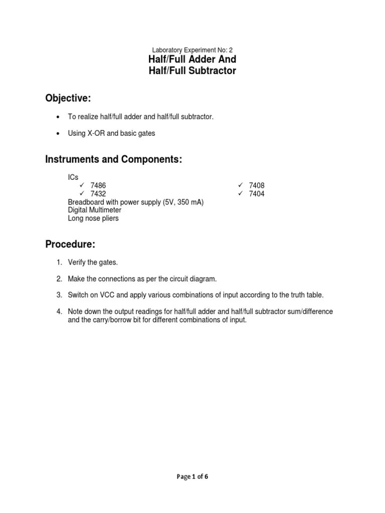 medium resolution of 108947651 half full adder andhalf full subtractor docx subtraction computer engineering