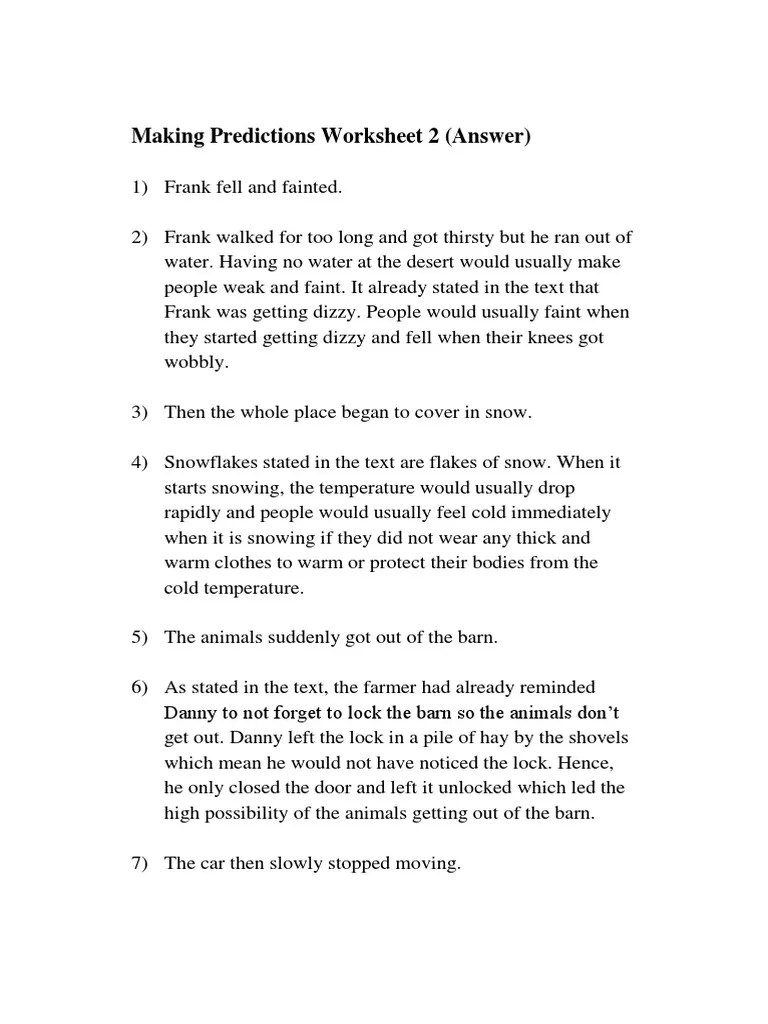 small resolution of Answers- Making Predictions Worksheet 2   Horses   Nature