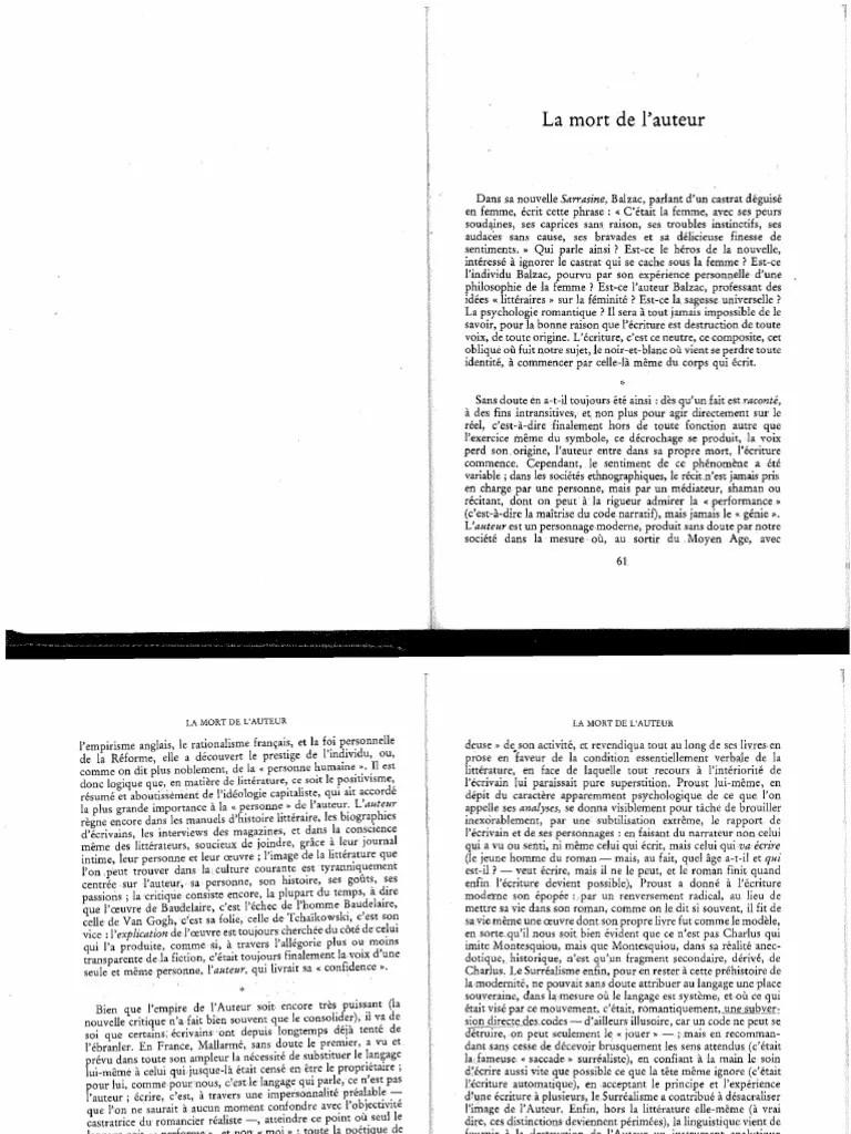 La Mort De L'auteur Barthes : l'auteur, barthes, Barthes, L'Auteur