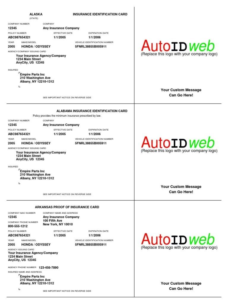 Nj Health Benefits Identification Card : health, benefits, identification, Sample, Insurance, Template, Vehicle, Liability