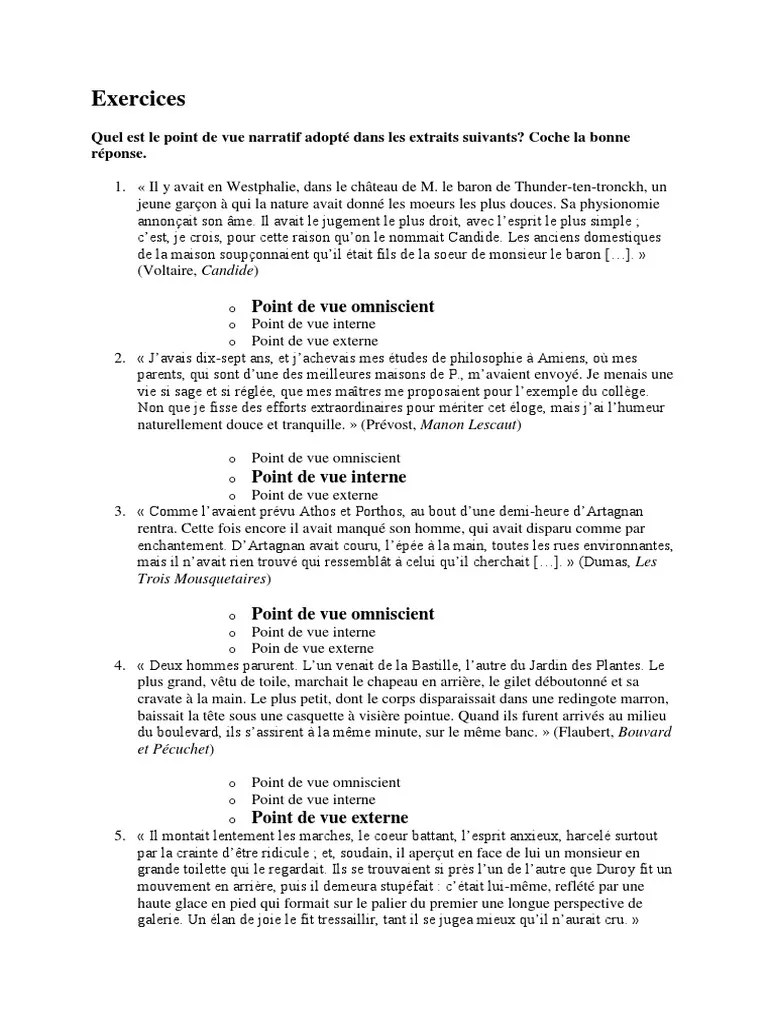 Les points de vue (zéro, interne et externe)