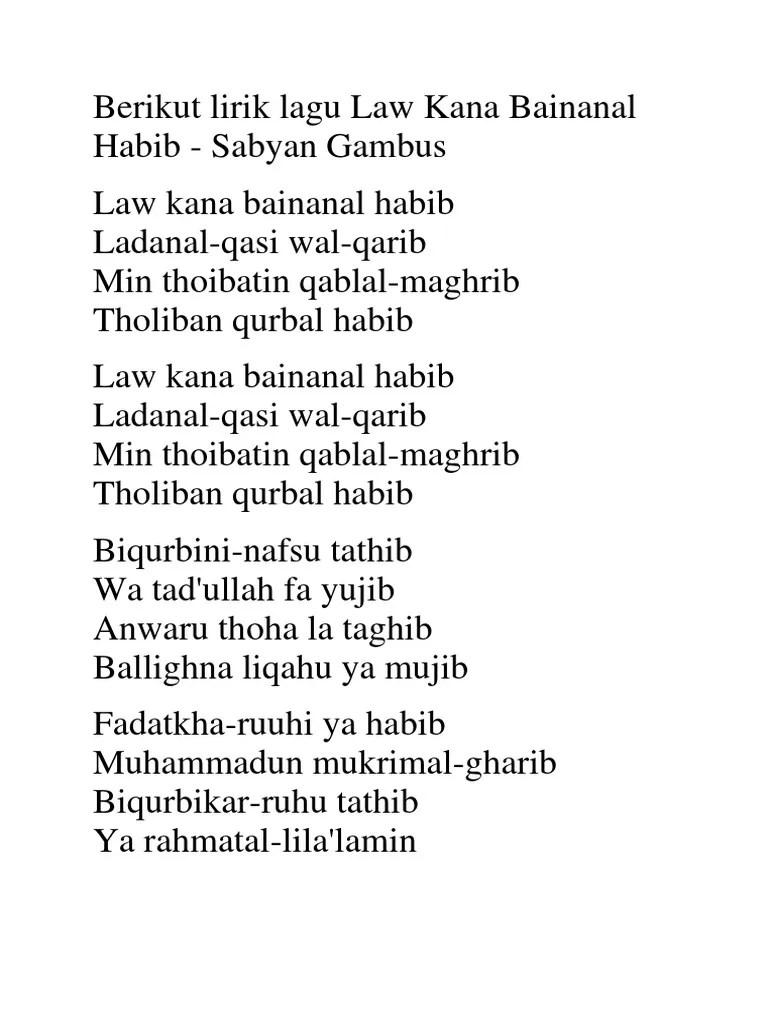 Law Kana Lirik : lirik, Berikut, Lirik, Bainanal, Habib