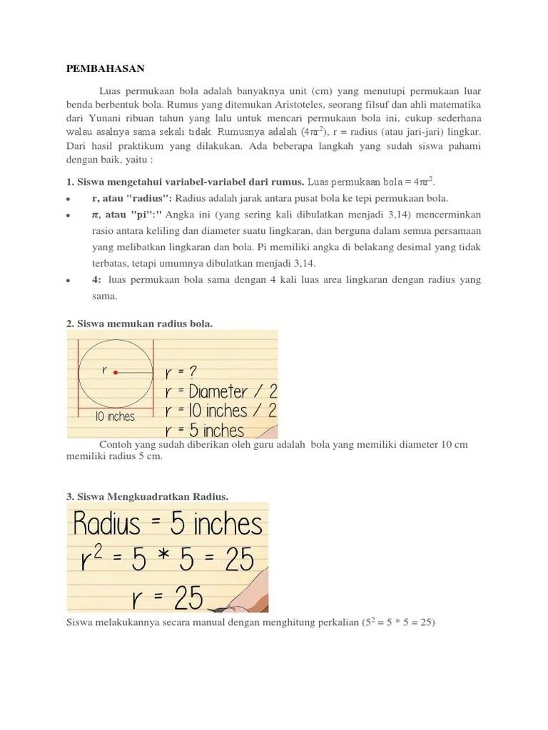 Luas Permukaan Bola : permukaan, Pembahasan, Permukaan