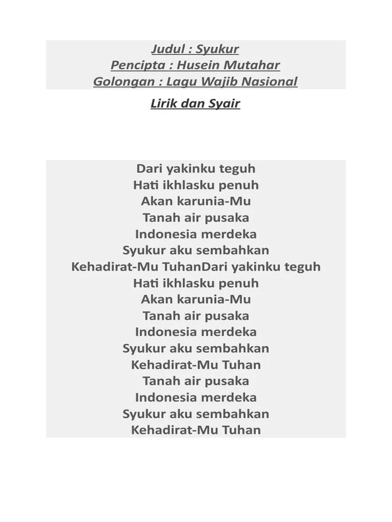 Dari Yakin Ku Teguh : yakin, teguh, Lirik, Syukur, Nasional, Accident, Lawyer