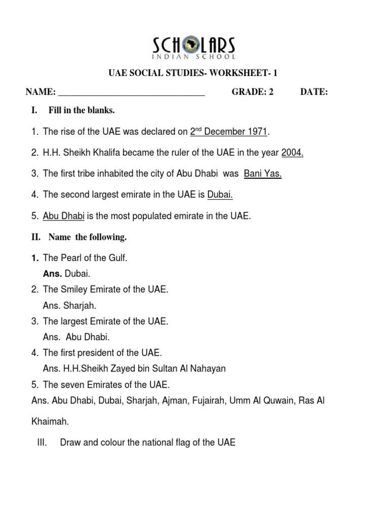 Uae Social Studies-Worksheet- 1 NAME: Grade: 2 Date: I. Fill in the blanks [ 1024 x 768 Pixel ]
