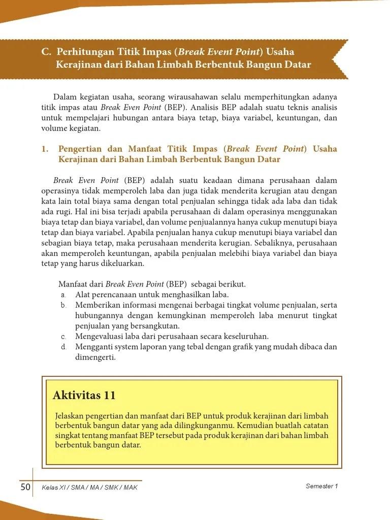 Manfaat Dari Bep : manfaat, (Break, Event, Point)