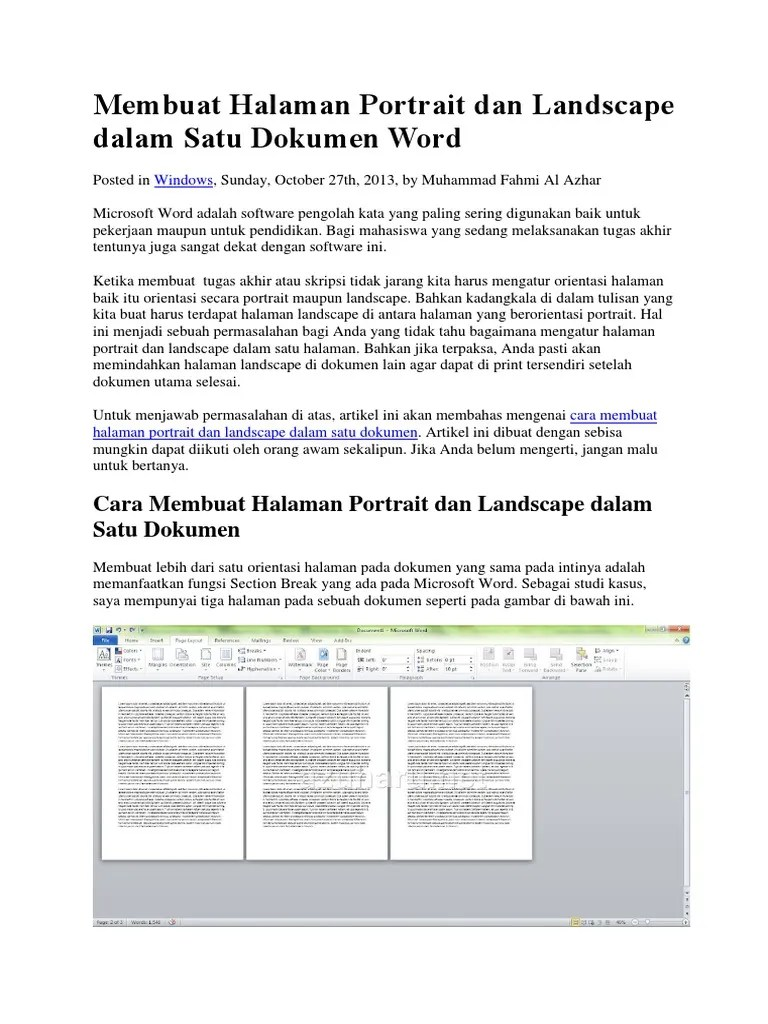 Cara Membuat Halaman Portrait Dan Landscape Dalam Satu Dokumen : membuat, halaman, portrait, landscape, dalam, dokumen, Membuat, Halaman, Portrait, Landscape, Dalam, Dokumen