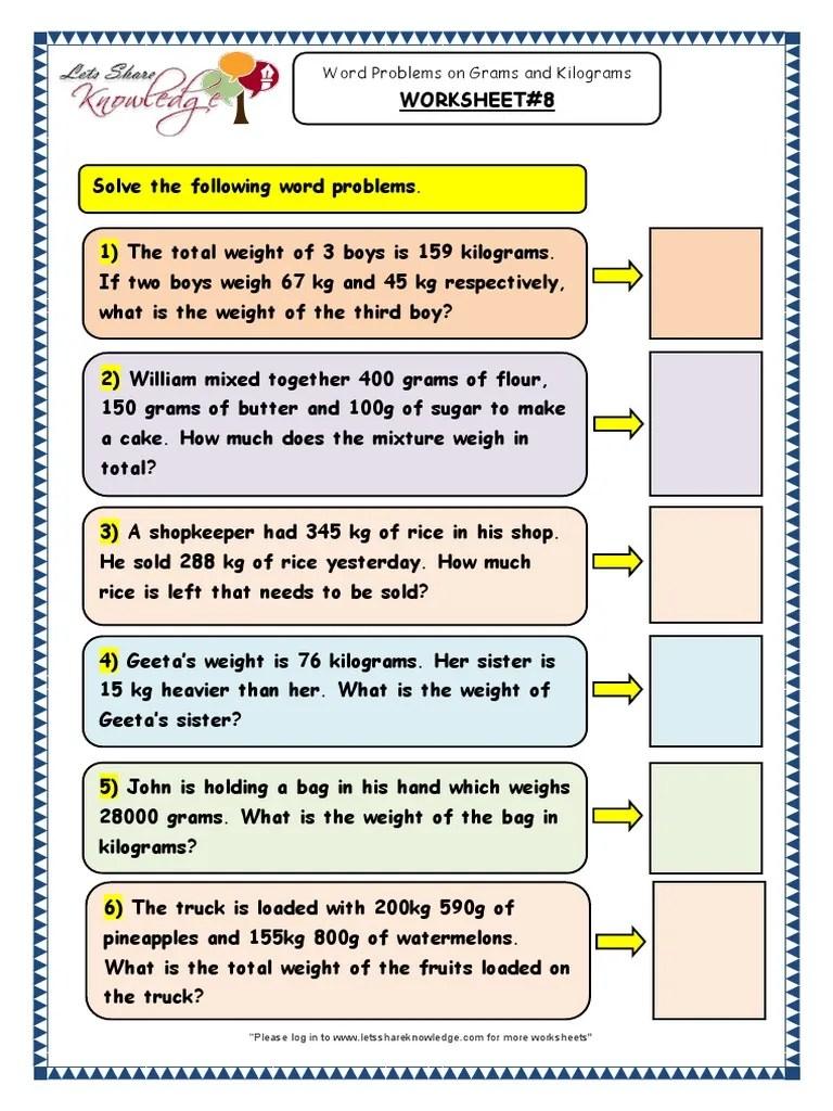 Grade 3 Maths Worksheets Word Problems on Grams and Kilograms 8   Kilogram    Units Of Measurement [ 1024 x 768 Pixel ]